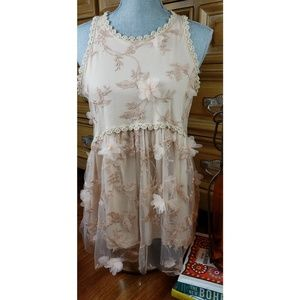 Soft Rose Gold Pink Floral BabyDoll Sleeveless Top